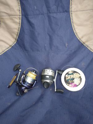 Daiwa regal 2000 XI infinite anti reverse open face reel, zebco 33 classic closed face reel, and extra fishing line for Sale in Indianapolis, IN