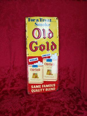 Vintage 1950 s Old Gold Embossed Sign for Sale in Melrose Park, IL
