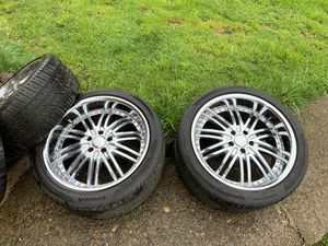 5x114.3 or 5x4.5 20 inch chrome with good tires for Sale in Salem, OR
