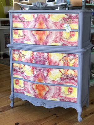 Boho colorful pink grey and orange vintage dresser for Sale in Mount Rainier, MD