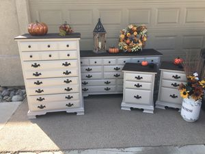 Farmhouse Style Bedroom Set/Dresser/Highboy/Nightstands for Sale in Turlock, CA