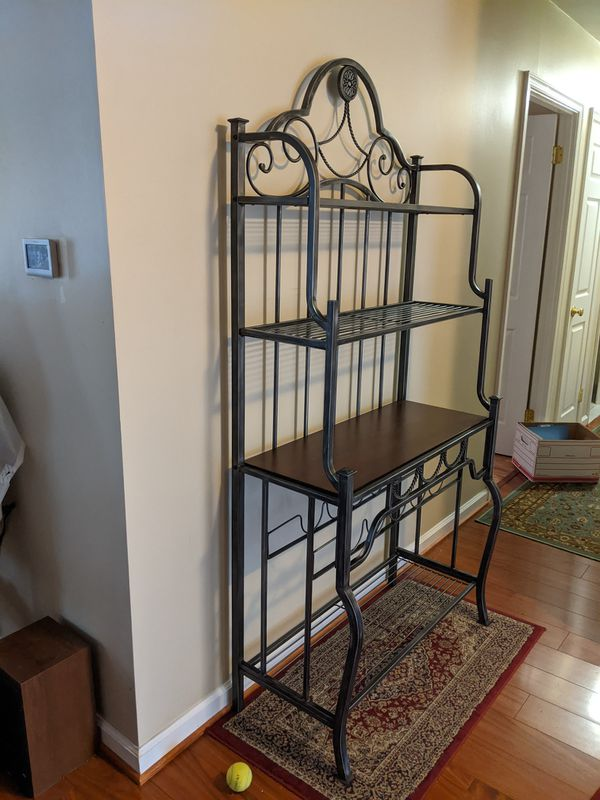 Brushed Metal and Wood Baker's Rack
