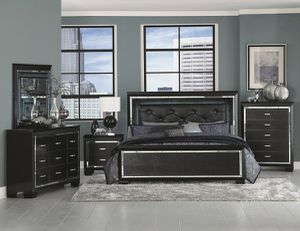 (JUST $54 DOWN) Brand New Black Tufted Queen Bedroom Set (Financing and Delivery available) for Sale in Carrollton, TX