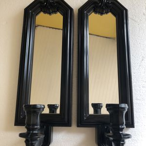 Pair Wall chandelier plastic / black / mirror for Sale in Tampa, FL