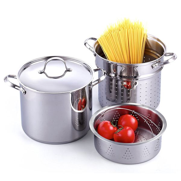 Cooks Standard Stainless Steel Pasta Steamer Cooker 4pcs 12 QUART Deluxe Kitchen Cookware Home Household Appliances Pots Pan Skillet Frypan $20