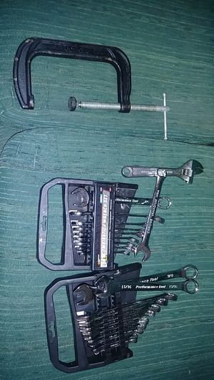 Complete metric and stadard wrench set with 7inch iron C clamp for Sale in Eugene, OR