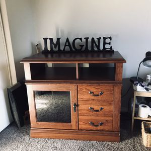 Tv cabinet with one side glass door 35 1/2 wide by30 1/4 tall by 23 deep for Sale in Portland, OR