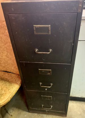 Vintage 3 Drawer deep Metal File Cabinet for Sale in Downers Grove, IL