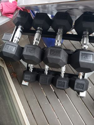 Dumbbells weights with rack and bench $250 for Sale in Renton, WA