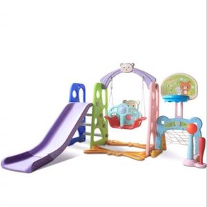 6 In 1 kids slide and swing Set, indoors outdoors playground Toy With Baseball activity Center set In Backyard toddler Climber 1-3 Years Old for Sale in City of Industry, CA