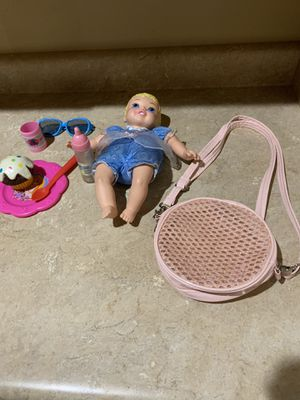 Baby Disney Cinderella doll ,baby bottle , purse , all for $5firm for Sale in Laveen Village, AZ