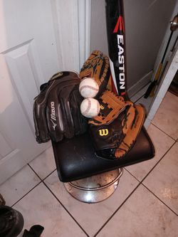 2 Softball Gloves With Catcher mit And Easton Bat for Sale in Santa Ana,  CA