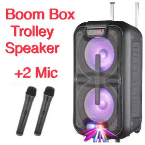 2x 10inch rechargeable Portable PA DJ Sound System Trolley Speaker with 2 Microphone, USB Audio for Sale in Union City, CA