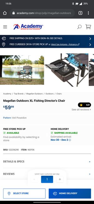 Magellan XL FISHING CHAIR for Sale in San Antonio, TX