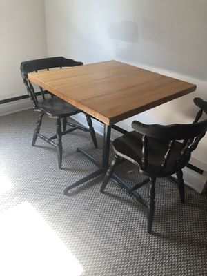 Butcher block table with iron base and two chairs. for Sale in Royersford, PA