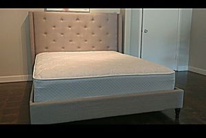 King light gray linen platform bed with mattress and free delivery for Sale in Austin, TX