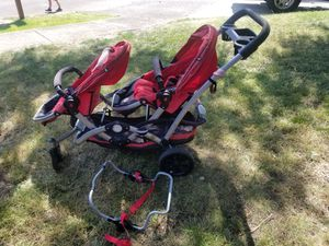 Double stroller with infant car seat frame for Sale in Tualatin, OR