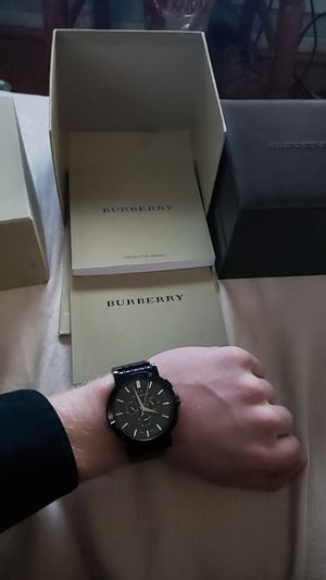 Burberry Chronogragh Swiss quartz watch 38mm 20mm band black stainless for Sale in Alexandria, VA