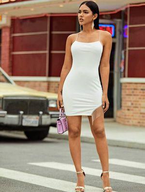 White. Crisscross backless fringe detail slip dress for Sale in Philadelphia, PA