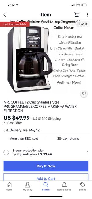 MR. COFFEE 12 Cup Stainless Steel PROGRAMMABLE COFFEE MAKER w/ WATER FILTRATION it's new just open box for Sale in Mt. Juliet, TN
