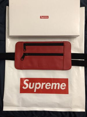 Supreme red leather waist bag for Sale in Los Angeles, CA
