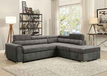 Sleeper Sectional Sofa with storage ottoman. $53 DOWN PAYMENT for Sale in Orlando,  FL