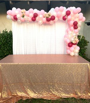 Balloon garland backdrop with table for Sale in Monterey Park, CA