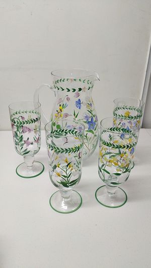 Glass painted pitcher & 4 glass cups for Sale in Norco, CA