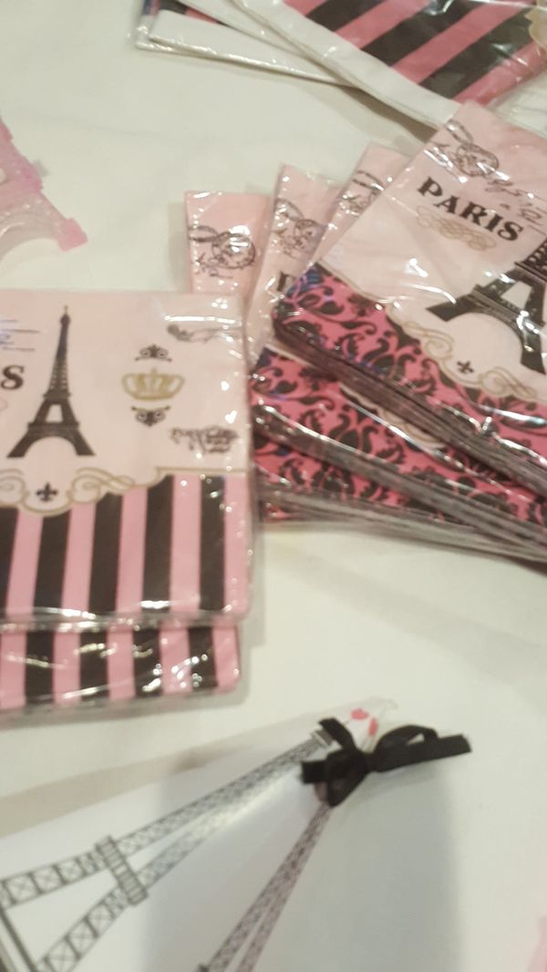 Paris themed birthday party decorations $120.00 value purchased too much 4 birthday party but purchased over a year ago