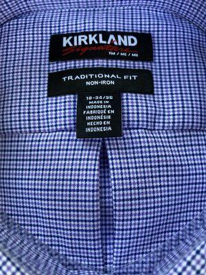 Kirkland Men's Button Down Dress Shirt Blue/Purple Check 18x34/35 for Sale in Camas, WA