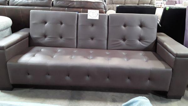 "NEW Poundex / ""Expresso"" (Faux Leather) Convertible/Futon Sofa (w/ Center Media Console & Armrest Storage)"