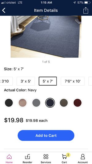 Mainstays blue rug for Sale in Woodburn, OR