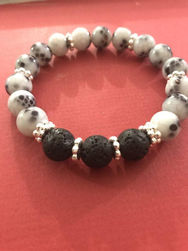 New Spotted Lava Stone Bracelet