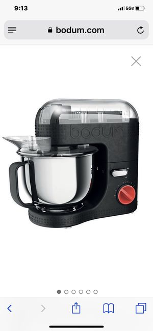 BODUM 11381-01US Bistro 700W 7-Speed Tilt-Head Stand Mixer with Pouring Shield, 5-Quart, 4.7-Litter, Stainless Steel Bowl, Beaters, Whisk, Dough Hook for Sale in Washington, DC