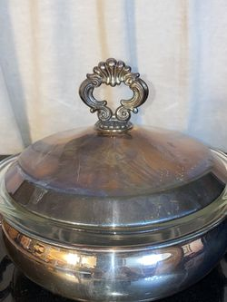 "3 Pc Vintage FB Rogers #1543 Silver Plate Casserole Server 8"" Diameter W/Pyrex for Sale in Littlerock,  CA"
