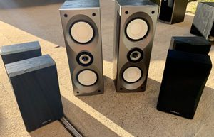 ONKYO 6 pc. Surround Sound System Speakers (2) SKF 550F (2) SKB 550 (2)SKM 550S for Sale in Houston, TX
