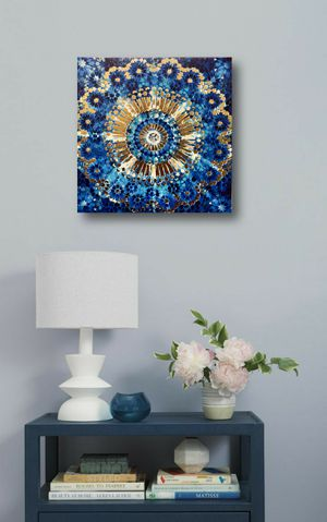 """Feel the Blue ! Wall Art 8""""x8"""" with Golden Finish for Sale in Hollywood, FL"""