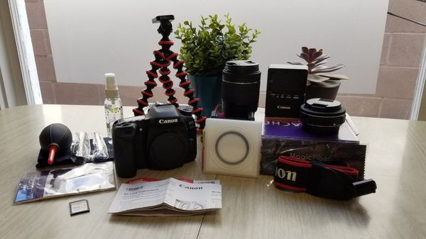 Canon 80D DSLR Camera and Kit, 2 lenses, polarizing lense cover, cleaning kit, carrying case, 64GB SD card, Squid tripod
