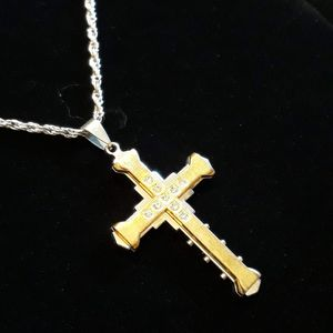 Silver and gold cross & 24in necklace. Both made with 316L stainless steel. for Sale in Glen Burnie, MD