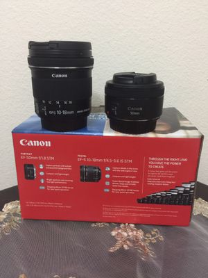 Canon Portrait and Travel Two Lens Kit with 50mm f/1.8 and 10-18mm Lenses for Sale in Kissimmee, FL