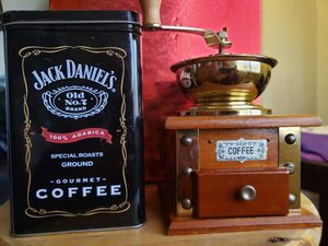 Coffee grinder and tin storage container for Sale in Los Angeles, CA