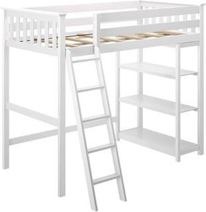 Max & Lily Solid Wood Twin-Size High Loft Bed with Bookcase, White for Sale in North Las Vegas, NV