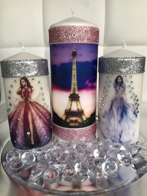 FASHION Homemade decorated custom unscented pillar candles set woman gift for Sale in North Miami Beach, FL