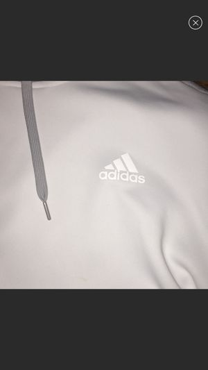 Adidas white with grey Hoodie size Med Men's Fleece - for Sale in El Monte, CA