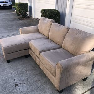 Beautiful Khaki Brown Suede Fabric L-Shape Reversible Sectional Sofa Couch - Seats 3 - with Ottoman for Sale in Walnut Creek, CA