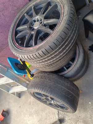 Racing wheels/rims w/ tires (staggered 18x7; 18x7) for Sale in Los Angeles, CA