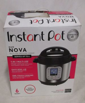 Instant Pot Duo Nova 7-in-1 Electric Pressure Cooker, Slow Cooker, Rice Cooker, Steamer, Saute, Yogurt Maker, and Warmer, 6 Quart, Easy-Seal Lid, 14 for Sale in Chicago, IL
