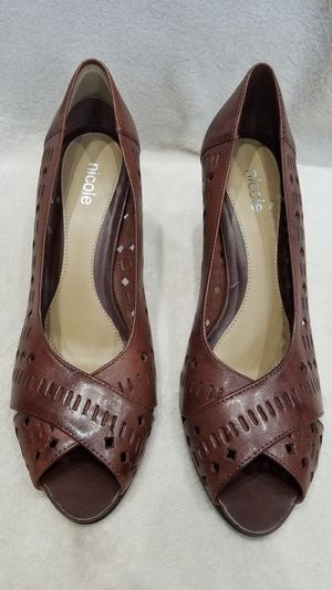 Women's Nicole brown leather peep toe high heel shoes, size 9.5 for Sale in Ithaca, NY