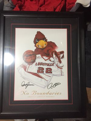 Framed UofL Cardinal's basketball photo. Signed by both Denny Crum and Rick Pitino for Sale in Louisville, KY