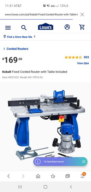 Kobalt low profile table router with 2 bits . Used it twice for Sale in Pompano Beach, FL